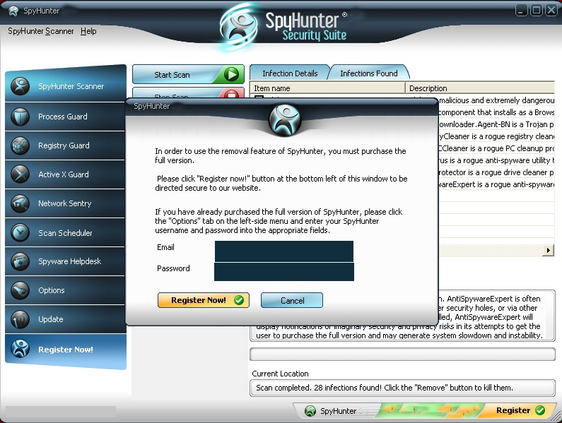 SpyHunter 4.28 Email and Password